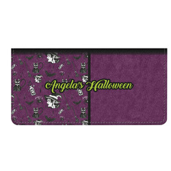 Witches On Halloween Genuine Leather Checkbook Cover (Personalized)