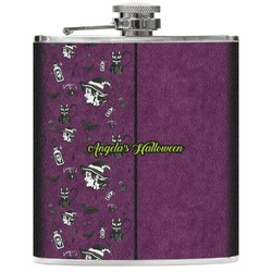 Witches On Halloween Genuine Leather Flask (Personalized)