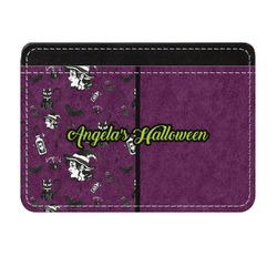 Witches On Halloween Genuine Leather Front Pocket Wallet (Personalized)