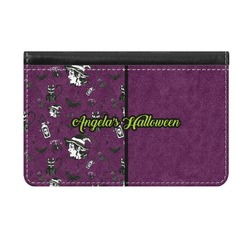 Witches On Halloween Genuine Leather ID & Card Wallet - Slim Style (Personalized)
