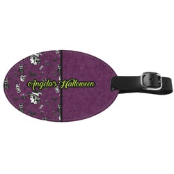 Witches On Halloween Genuine Leather Oval Luggage Tag (Personalized)
