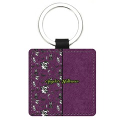 Witches On Halloween Genuine Leather Rectangular Keychain (Personalized)