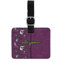 Witches On Halloween Genuine Leather Rectangular  Luggage Tag (Personalized)