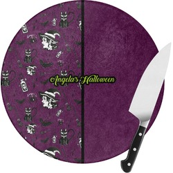 Witches On Halloween Round Glass Cutting Board (Personalized)