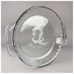 Witches On Halloween Glass Pie Dish - 9.5in Round (Personalized)