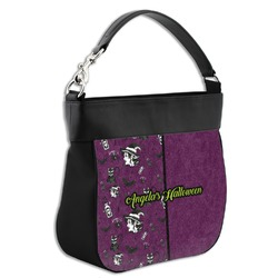 Witches On Halloween Hobo Purse w/ Genuine Leather Trim (Personalized)