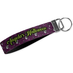 Witches On Halloween Wristlet Webbing Keychain Fob (Personalized)