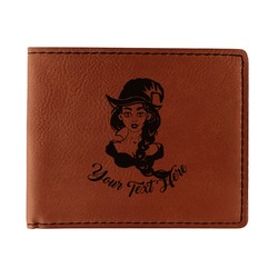 Witches On Halloween Leatherette Bifold Wallet - Single Sided (Personalized)
