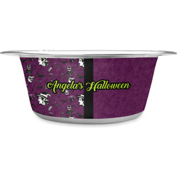 Witches On Halloween Stainless Steel Pet Bowl (Personalized)