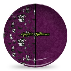 Witches On Halloween Microwave Safe Plastic Plate - Composite Polymer (Personalized)