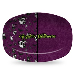 Witches On Halloween Plastic Platter - Microwave & Oven Safe Composite Polymer (Personalized)
