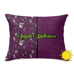 Witches On Halloween Outdoor Throw Pillow (Rectangular) (Personalized)