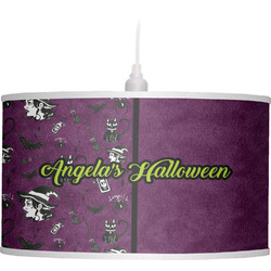 Witches On Halloween Drum Pendant Lamp (Personalized)