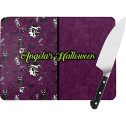 Witches On Halloween Rectangular Glass Cutting Board (Personalized)