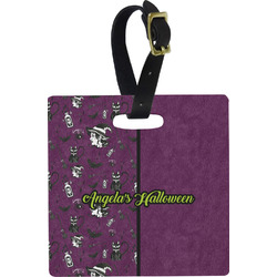 Witches On Halloween Square Luggage Tag (Personalized)