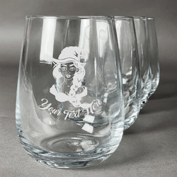 Witches On Halloween Wine Glasses (Stemless Set of 4) (Personalized)