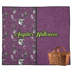Witches On Halloween Outdoor Picnic Blanket (Personalized)