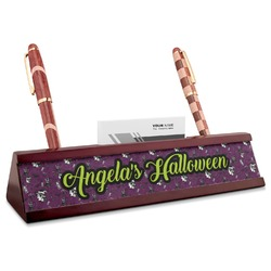 Witches On Halloween Red Mahogany Nameplate with Business Card Holder (Personalized)