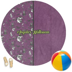 Witches On Halloween Round Beach Towel (Personalized)