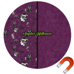 Witches On Halloween Round Car Magnet (Personalized)