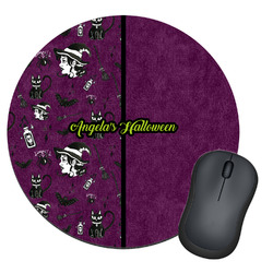 Witches On Halloween Round Mouse Pad (Personalized)