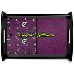 Witches On Halloween Black Wooden Tray (Personalized)