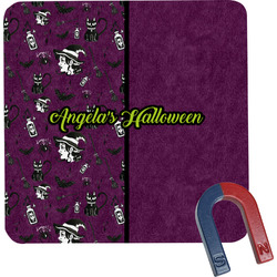 Witches On Halloween Square Fridge Magnet (Personalized)