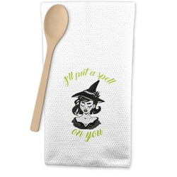 Witches On Halloween Waffle Weave Kitchen Towel (Personalized)