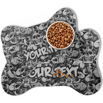 Skulls Bone Shaped Dog Food Mat (Personalized)