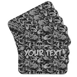 Skulls Cork Coaster - Set of 4 w/ Name or Text