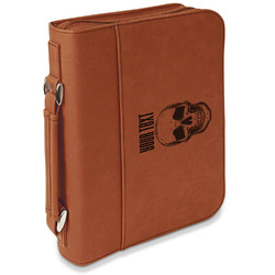 Skulls Leatherette Bible Cover with Handle & Zipper - Large- Single Sided (Personalized)