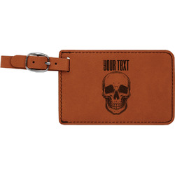 Skulls Leatherette Luggage Tag (Personalized)