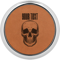 Skulls Leatherette Round Coaster w/ Silver Edge - Single or Set (Personalized)