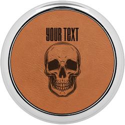 Skulls Leatherette Round Coaster w/ Silver Edge - Single or Set (Personalized)