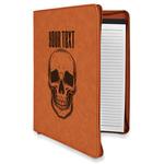 Skulls Leatherette Zipper Portfolio with Notepad (Personalized)