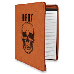 Skulls Leatherette Zipper Portfolio with Notepad (Personalized)