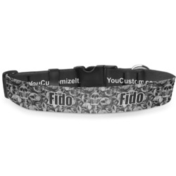 """Skulls Deluxe Dog Collar - Large (13"""" to 21"""") (Personalized)"""