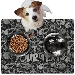 Skulls Dog Food Mat - Medium w/ Name or Text
