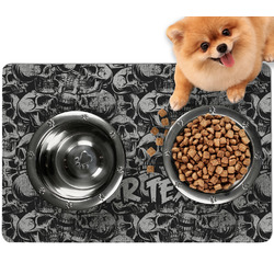 Skulls Dog Food Mat - Small w/ Name or Text