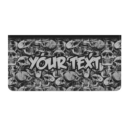 Skulls Genuine Leather Checkbook Cover (Personalized)
