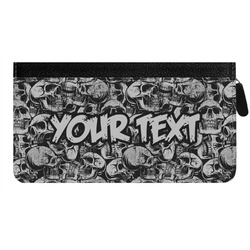 Skulls Genuine Leather Ladies Zippered Wallet (Personalized)