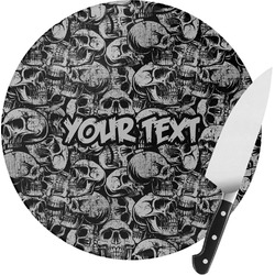 Skulls Round Glass Cutting Board (Personalized)