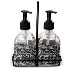 Skulls Soap & Lotion Dispenser Set (Glass) (Personalized)