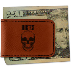 Skulls Leatherette Magnetic Money Clip - Single Sided (Personalized)