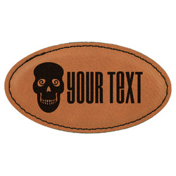 Skulls Leatherette Oval Name Badge with Magnet (Personalized)