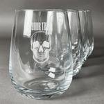 Skulls Wine Glasses (Stemless Set of 4) (Personalized)