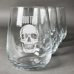 Skulls Wine Glasses (Stemless Set of 4) (Personalized)