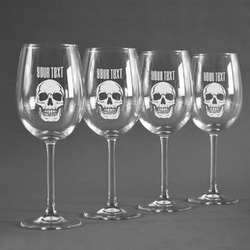 Skulls Wine Glasses (Set of 4) (Personalized)