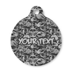 Skulls Round Pet ID Tag (Personalized)