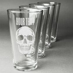 Skulls Beer Glasses (Set of 4) (Personalized)